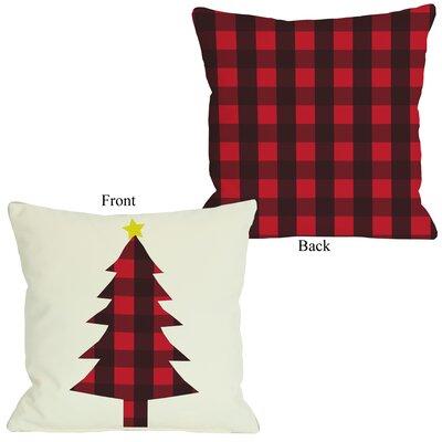 "One Bella Casa Plaid Christmas Tree Reversible Pillow - Size: 26"" H x 26"" W"