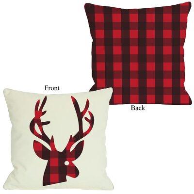 plaid reindeer pillow
