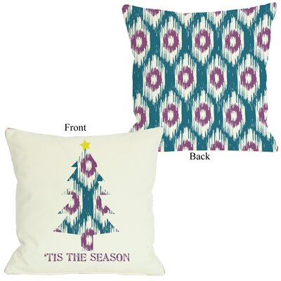 Tis The Season Ikat Tree Reversible Throw Pillow Size: 16 H x 16 W