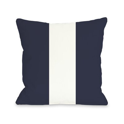 Main Line Throw Pillow Size: 18 H x 18 W, Color: Navy White