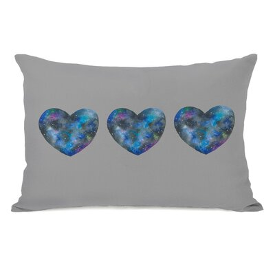 Triple Cosmic Heart Lumbar Pillow Color: Grey Multi