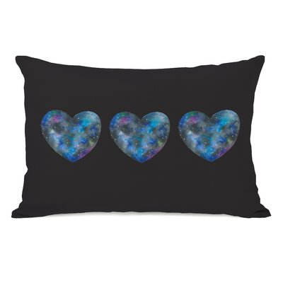 Triple Cosmic Heart Lumbar Pillow Color: Black Multi
