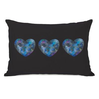 Triple Cosmic Heart Lumbar Pillow Color: Black Multi