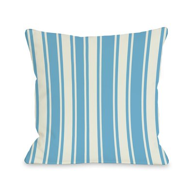 Tri-Stripes Throw Pillow Size: 16 H x 16 W, Color: Aqua Ivory