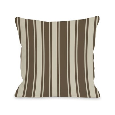 Tri-Stripes Throw Pillow Size: 16 H x 16 W, Color: Brown