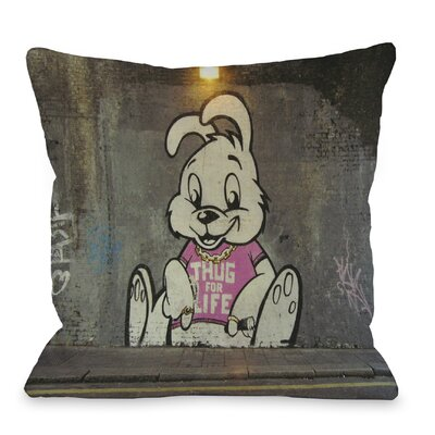 Thug for Life Bunny Throw Pillow Size: 18 H x 18 W