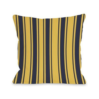 Tri-Stripes Throw Pillow Color: Navy, Size: 18
