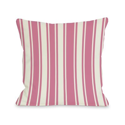Tri-Stripes Throw Pillow Size: 16 H x 16 W, Color: Pink