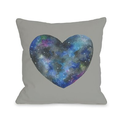 Single Cosmic Heart Throw Pillow Color: Gray Multi