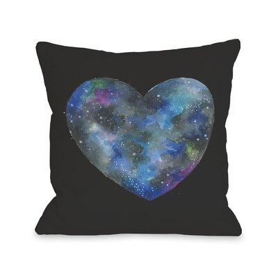 Single Cosmic Heart Throw Pillow Color: Black Multi
