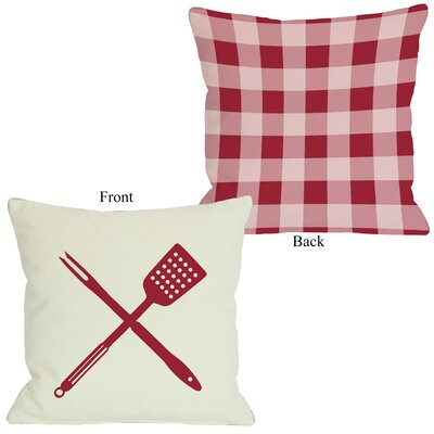 BBQ Tools Plaid Throw Pillow