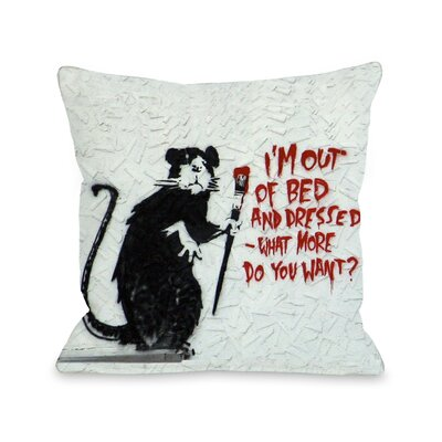 Rat Out of Bed Throw Pillow
