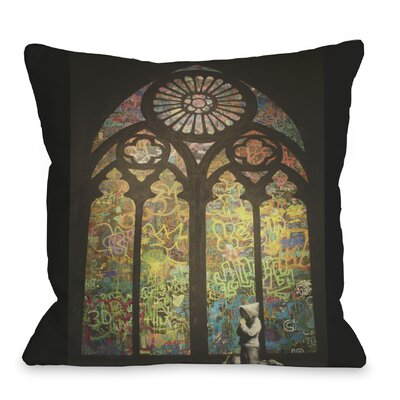 Stained Glass Graffiti Throw Pillow Size: 18 H x 18 W