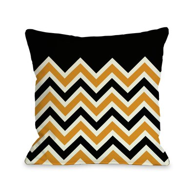 Chevron Throw Pillow Color: Black Orange, Size: 16 H x 16 W