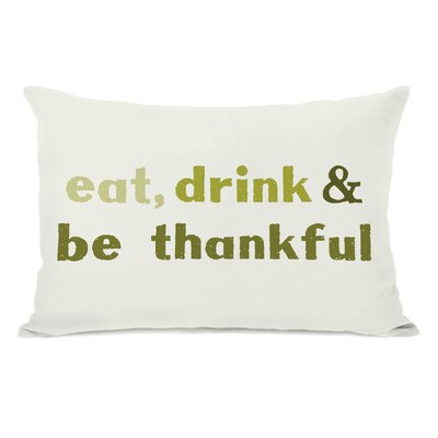 Eat Drink Be Thankful Leaves Lumbar Pillow