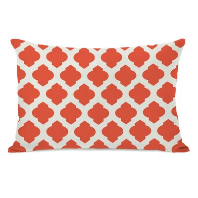 All Over Moroccan Lumbar Pillow Color: Orange Ivory