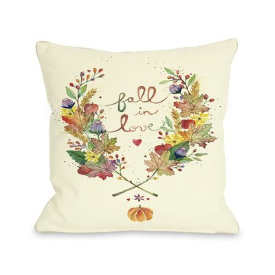 Fall in Love Throw Pillow Size: 20 H x 20 W