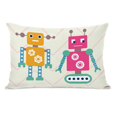 Robots and Chevrons Lumbar Pillow