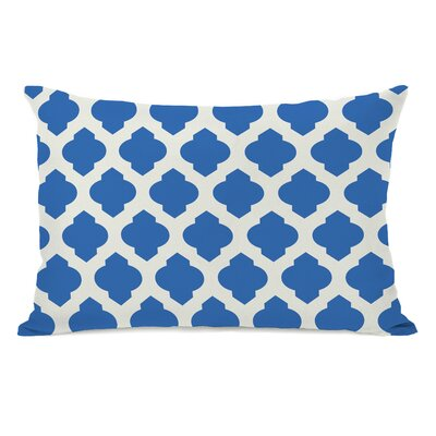 All Over Moroccan Lumbar Pillow Color: Palace Blue Ivory
