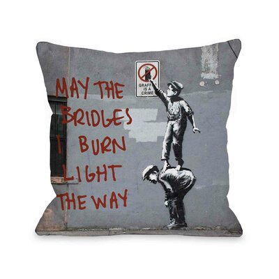 Crime Burn Bridges Throw Pillow Size: 16 H x 16 W
