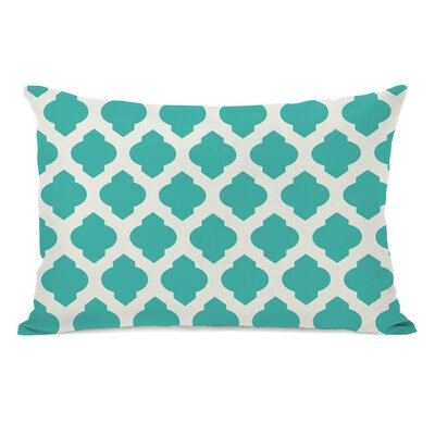 All Over Moroccan Lumbar Pillow Color: Turquoise Ivory