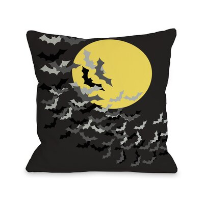Flock of Bats Moon Throw Pillow