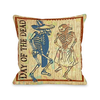 Day of The Dead Dancing Skeletons Throw Pillow