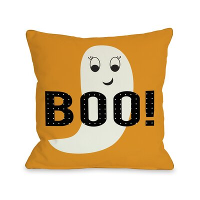 Smiley Ghost Boo Dot Throw Pillow Size: 18 H x 18 W