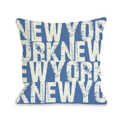 New York All Over Word Throw Pillow Size: 18 H x 18 W