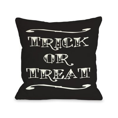 Trick or Treat Tattoo Letters Throw Pillow Size: 16 x 16