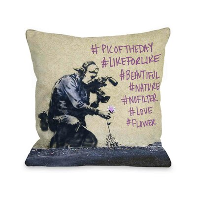 Flower Hashtags Throw Pillow Size: 16 H x 16 W