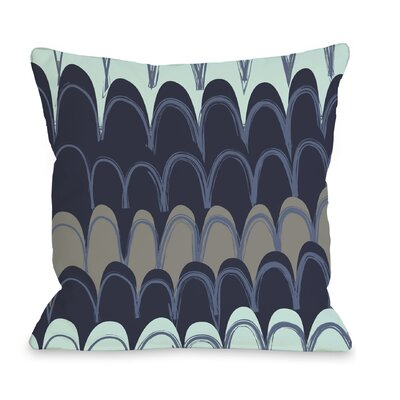 Mila Mountains Throw Pillow Color: Navy / Aqua
