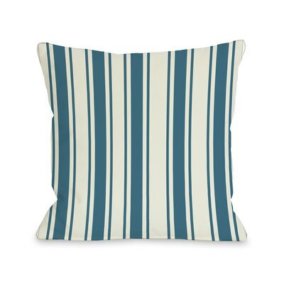 Winning Stripes Throw Pillow Color: Blue Green, Size: 18 X 18