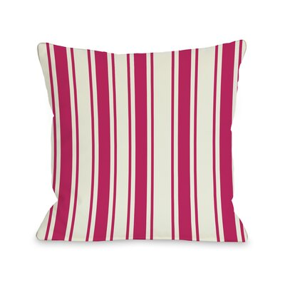 Winning Stripes Throw Pillow Color: Fuchsia, Size: 18 X 18