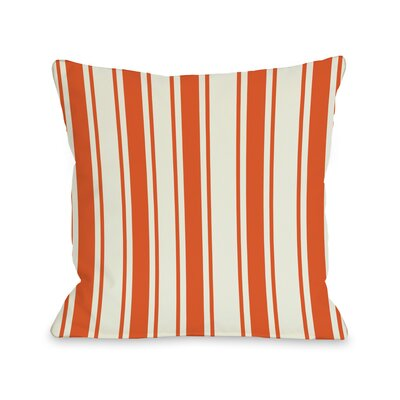 Tri-Stripes Throw Pillow Size: 16 H x 16 W, Color: Orange