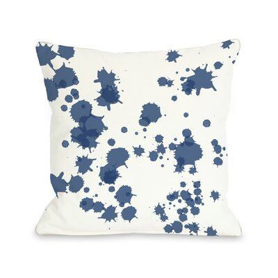 Eva Splatter Throw Pillow Color: White Navy
