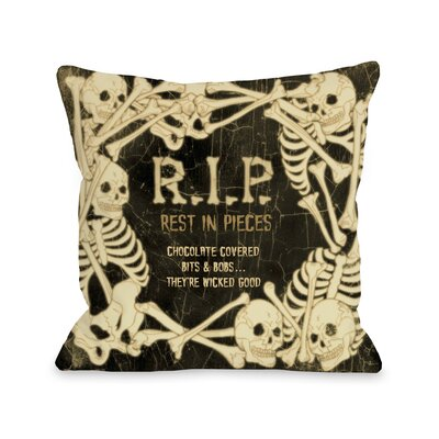 RIP Skeleton Border Throw Pillow