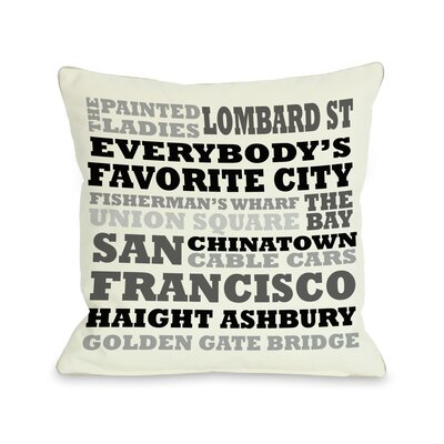 San Francisco Subway Style Words Throw Pillow