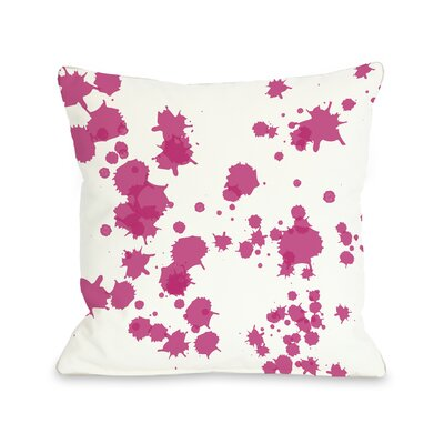 Eva Splatter Throw Pillow Color: White Pink