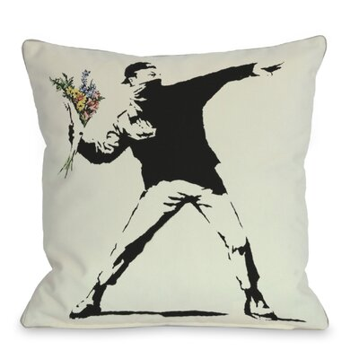 Rage Flowers Throw Pillow Size: 16 H x 16 W
