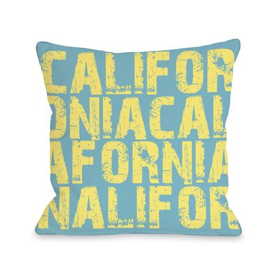 California All Over Word Throw Pillow Size: 18 H x 18 W