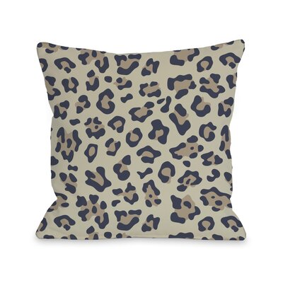 Gabriella Cheetah Throw Pillow Color: Navy Nougat, Size: 18 H x 18 W