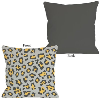 Gabriella Cheetah Throw Pillow Size: 26 H x 26 W, Color: Mimosa Gray