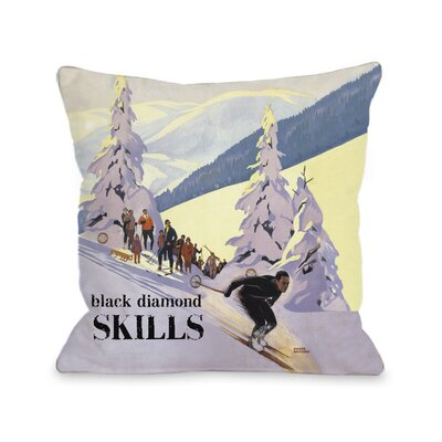 Diamond Skills Vintage Ski Throw Pillow Size: 26 H x 26 W