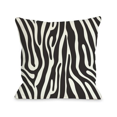 Raffi Zebra Throw Pillow Size: 26 H x 26 W, Color: Black White