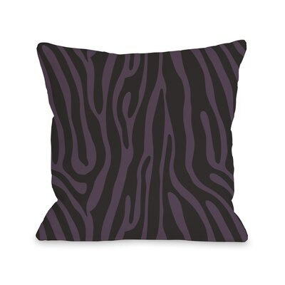 Raffi Zebra Throw Pillow Color: Blackberry Black, Size: 18 H x 18 W