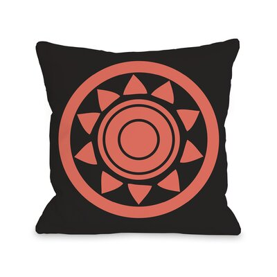 Maya Aztec Circle Throw Pillow Color: Black Orange