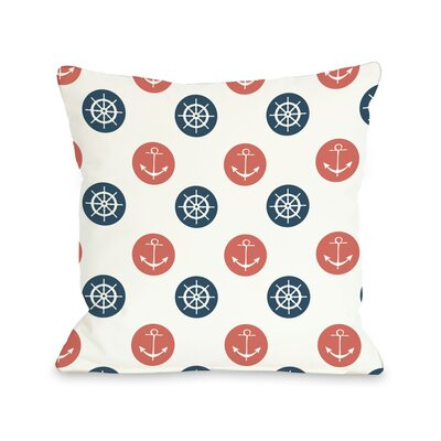 Anchor Wheel Polka Dot Throw Pillow Color: Coral, Size: 18 H x 18 W