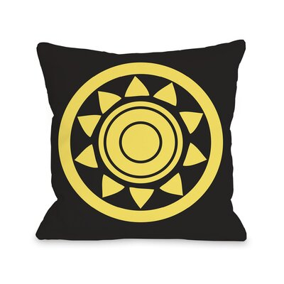 Maya Aztec Circle Throw Pillow Color: Black Yellow