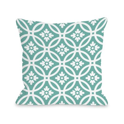 Meredith Circles Throw Pillow Size: 18 H x 18 W, Color: Turquoise White